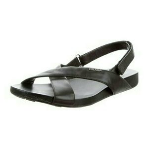 Prada 8 1/2 Leather Velcro Strap Sandals